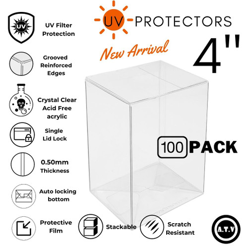 "ATV 4"" UV Grooved Edge 0.50mm Pop Protectors - [Pack of 100]"