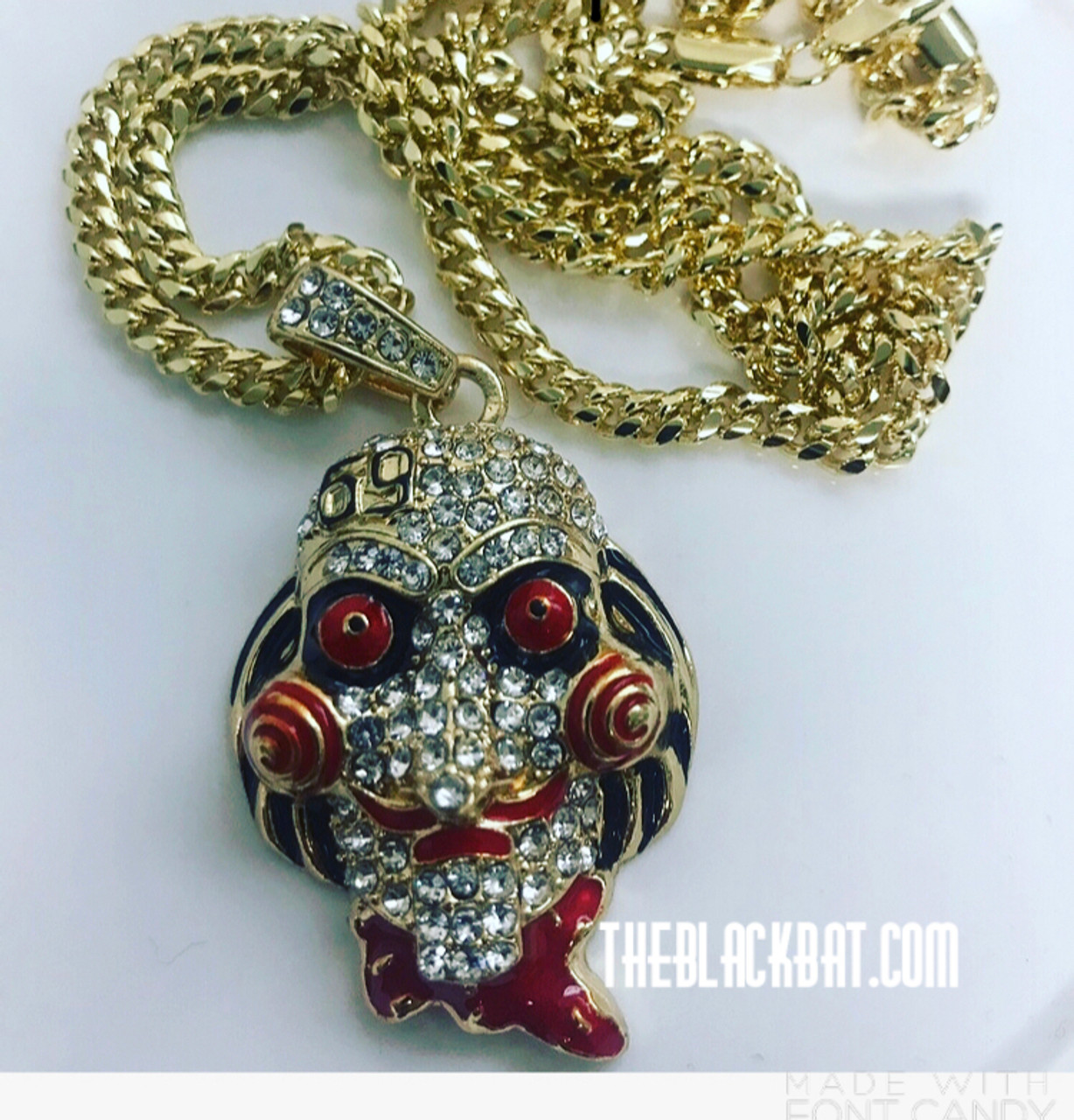 69 Chain Jigsaw: Tekashi 69 Red-eye Pendant- New In Box W/Free Gold Chain