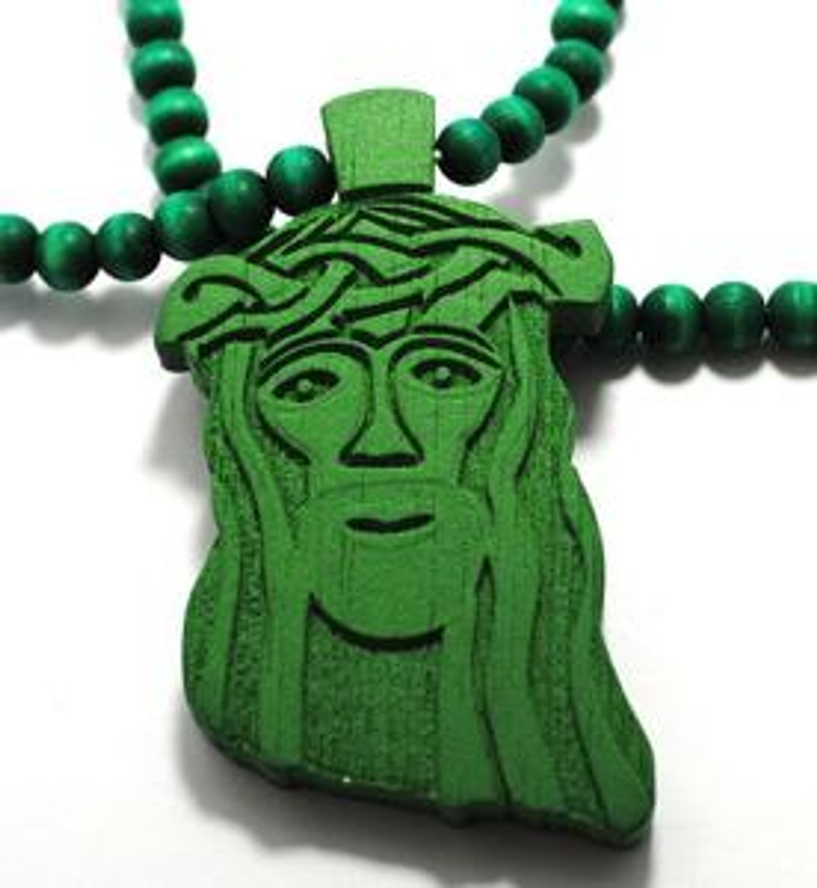 Good Wood Wooden Jesus Piece 30 Beaded Chain Nyc Green