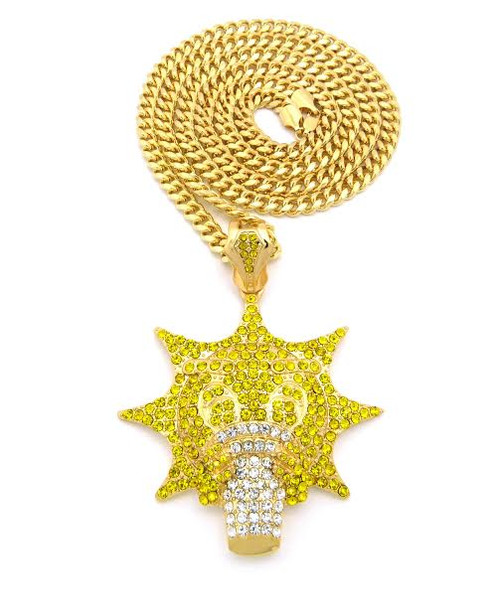 """Glo-Gang GOLD/Canary Yellow CZ Iced Pendant w/FREE 36"""" Chain"""