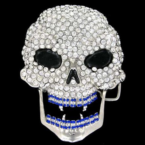 Skull belt buckle New Iced out !   BLUE MOUTH