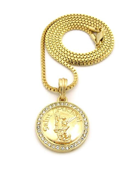 """Saint Michael Gold Coin Pendant and FREE 36"""" Gold Chain"""