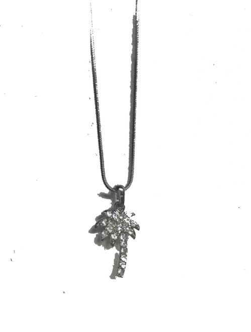 As worn by Token Tee on Instagram!! :)  Sterling Silver Palm Tree Pendant, Iced out w/Chain