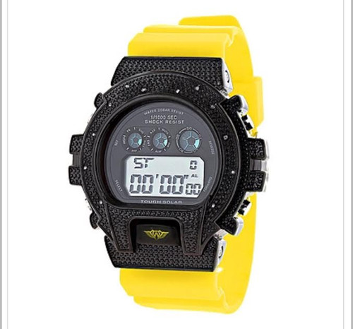 GSHOCK STYLE WATCH: ICE PLUS GENUINE DIAMOND WATCH 0.12CT |Black & YEL SOLD OUT!!