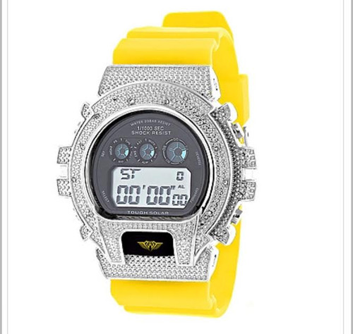 GSHOCK STYLE WATCH: ICE PLUS GENUINE DIAMOND WATCH 0.12CT |Silver &YEL SOLD OUT!!