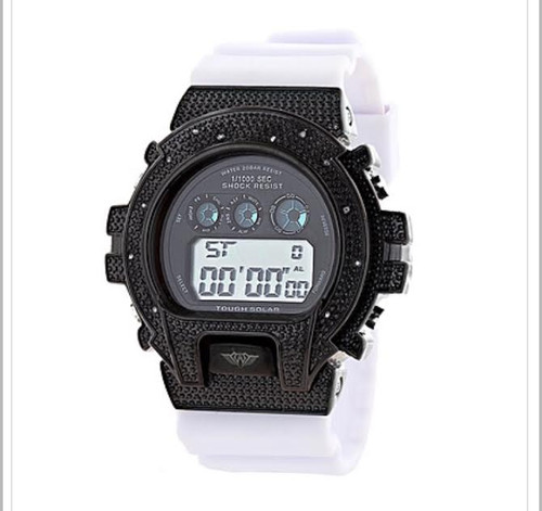 GSHOCK STYLE WATCH: ICE PLUS GENUINE DIAMOND WATCH 0.12CT |Black & WH