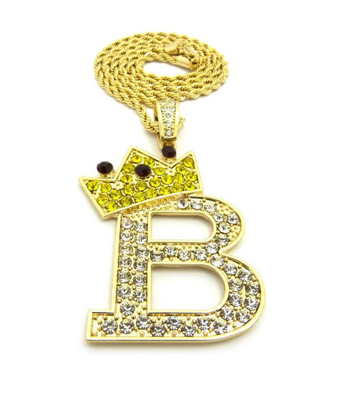 "B-Iced Out King Pendant 14k Gold Plated w/FREE 36"" Chain"