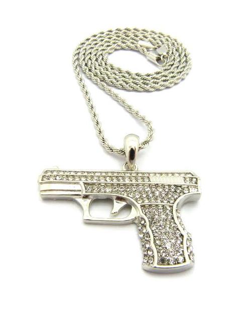 "Large/ Silver Handgun Pendant w/FREE 36""Chain-Limited"