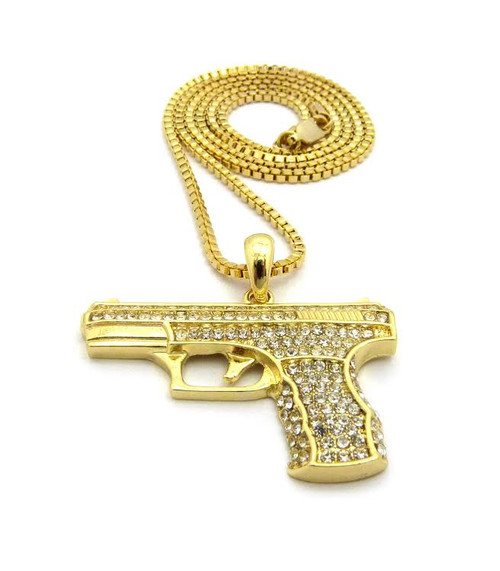 """14K Gold 9mm Pistol Pendant 