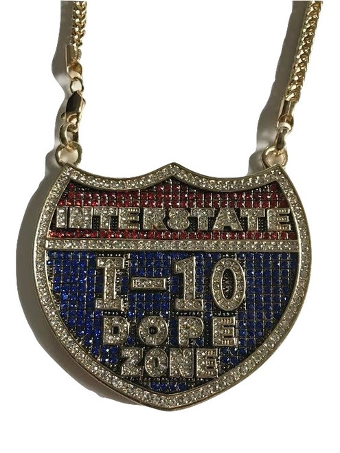 "I-10 Dope Zone Gold|Blue|Red Fully Iced Badge Pendant w/FREE 36"" Chain"