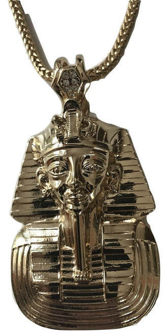 "King Tut- Kayne West 14K Gold 3.5"" Pendant w/FREE Gold Chain"