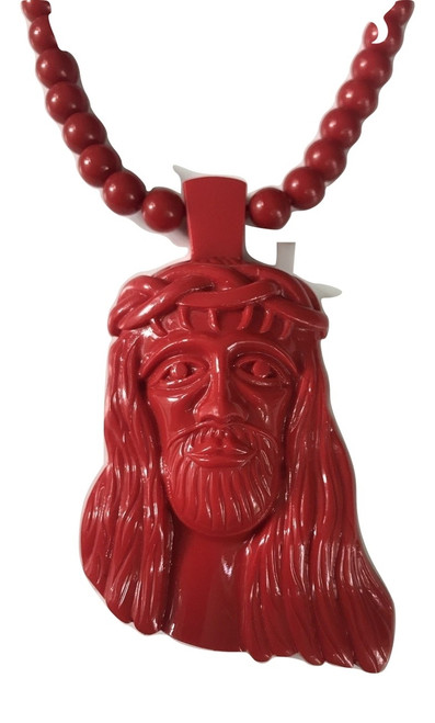 "RedJesus Hip Hop Pendant worn by Kayne West w/Free 36"" Red Bead Chain"