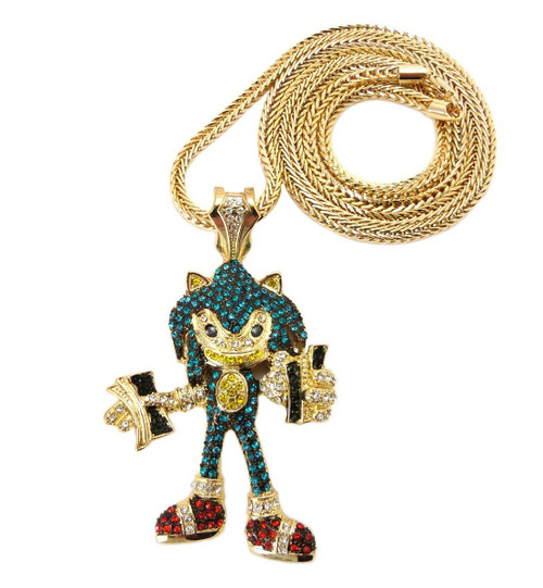 Sonic the Hedgehog Fully Iced Out Pendant w/Diamond Stone 14k gp