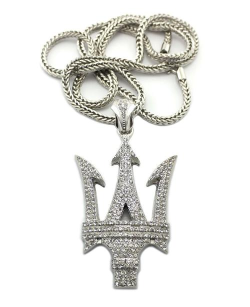 "Maserati Pendant   SILVER  Large 3"" x 2.5""  w/36"" Chain"