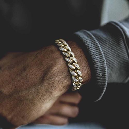 Miami Cuban Iced Out Chain Bracelet/ Gold