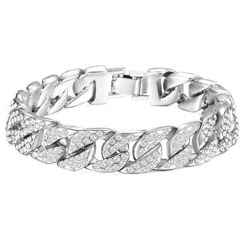 Miami Cuban Iced Out Bracelet in Silver