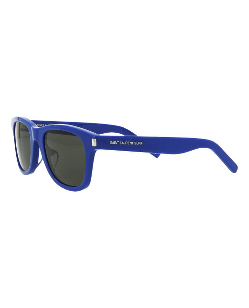 DETAILS  SL 51 Surf Sunglasses 140mm temple length; 50mm lens width; 22mm bridge width 100% UV protection Frame shape: Rectangular Acetate frame with integrated nose guards Lens color: Smoke Includes case and cleaning cloth Made in Italy
