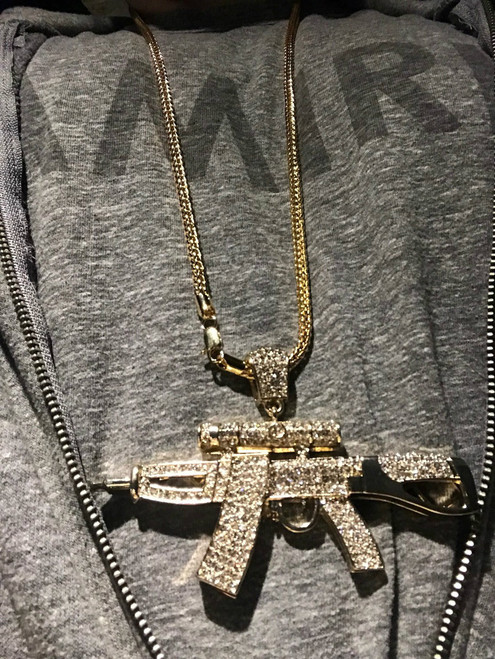 "New Gold Uzi pendant w/free 36"" Chain! This item is hot!"