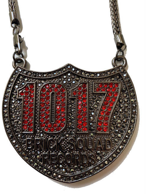 BRICK SQUAD RECORDS 1017 Black/ Red Iced Out Pendant & 36 Chain
