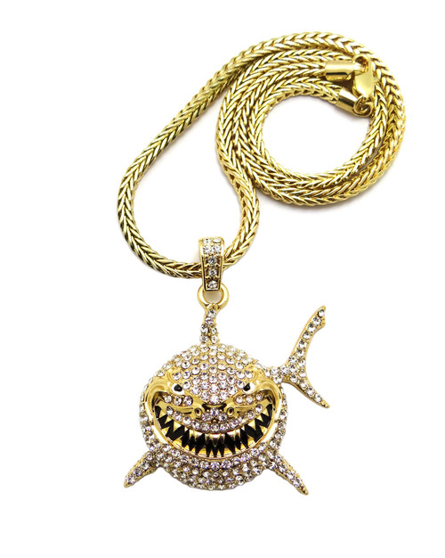 "Gold Shark Iced Out Pendant & 4mm Chain 2""x 1.75"""