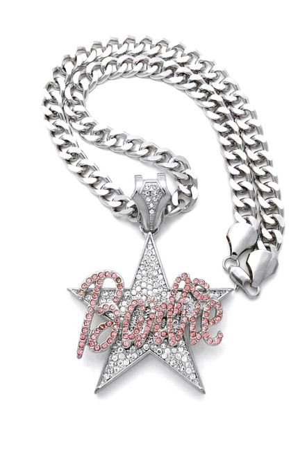 "Barbie STAR Pendant Silver /Pink 2.25""x 3"""