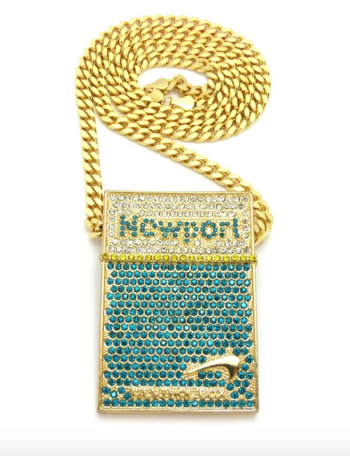 CIGARETTES PENDANT SMOKE GOLD CHAIN NEWPORTS NECKLACE DIAMOND NEWPORT BOX HIP HOP RAPPER BLUNT ICED OUT 30IN.