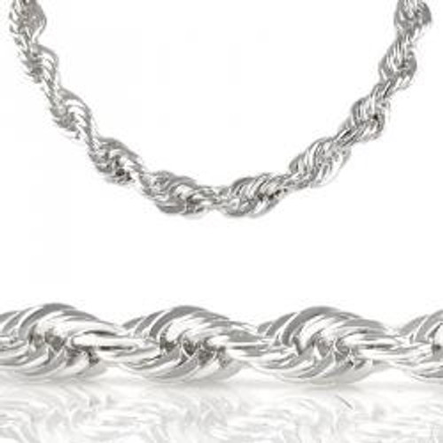 30 Diamond Cut 8mm silver Rope Chain
