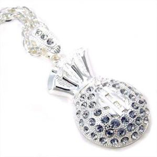 """""""Money bags pendant All Iced Out Rhodium plated with FREE  36""""Chain"""