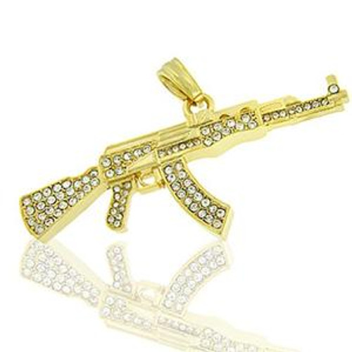 AK-47 Gold Plated Iced out pendant!