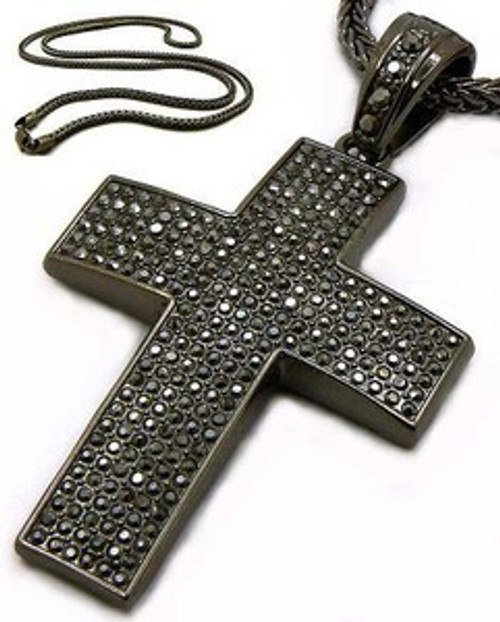 """Black Iced out Cross Hip Hop pendant w/ FREE 36"""" chain"""