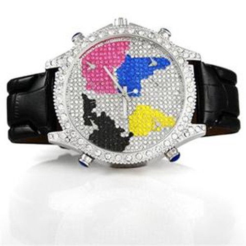 Clear Multi Color Map Black Leather Band Mens Watch