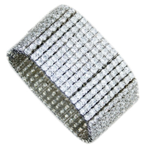 "8 Line Ice"" Ladies Silver Bracelet"
