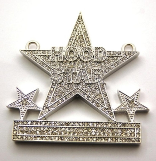 "Hood Star iced out silver Custom pendant FREE 36"" franco chain"