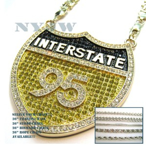 """i-95 Hip Hop Iced Out Canary Black and Clear Pendant"