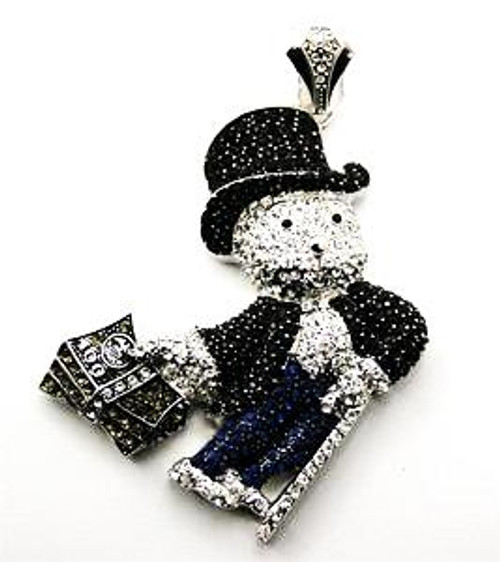 """""""Monopoly man pendant  BLACK AND SILVER WITH BLUE PANTS  w/FREE 36"""" Chain"""