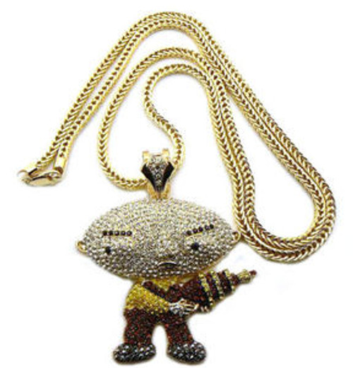 """ICED OUT STEWIE PENDANT & FRANCO CHAIN W/GUN &  36"" Chain"