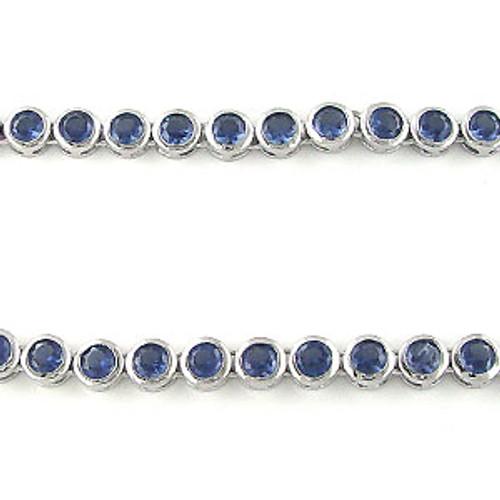 Hip Hop Silver 5mm Bezel Sapphire Blue CZ Bullet Necklace