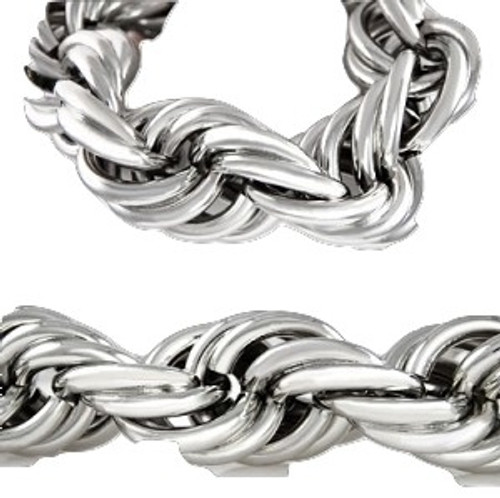 """25MM X 36""""  HIP HOP  Silver Rope Chain..Sale"""