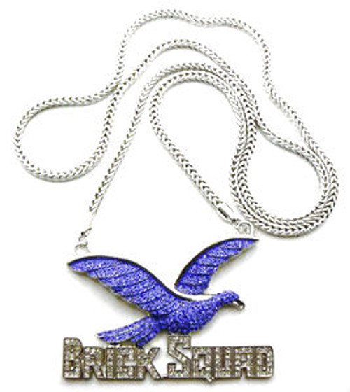 """""""FULLY ICED OUT BLUE BRICK SQUAD  1017 PENDANT & FRANCO CHAIN"""