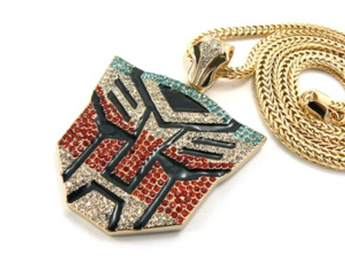 """Iced Out Gold Tone Blue and Red Transformers Chain"