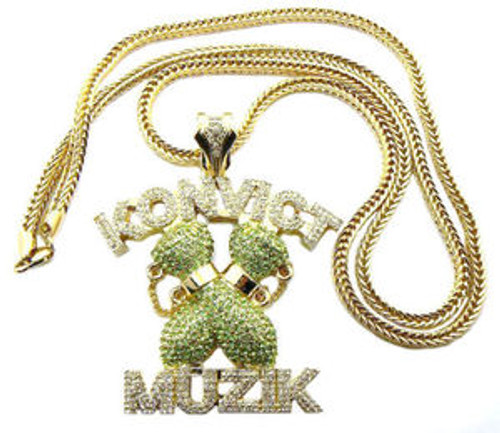 """ICED OUT AKON'S KONVICT MUZIK PIECE & 36""FRANCO CHAIN"