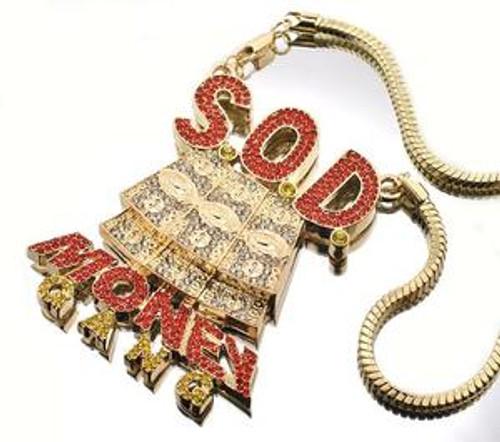 """SOD  CUSTOM Soulja Boy New Money Gang pendant GOLD/ RED / CANARY"