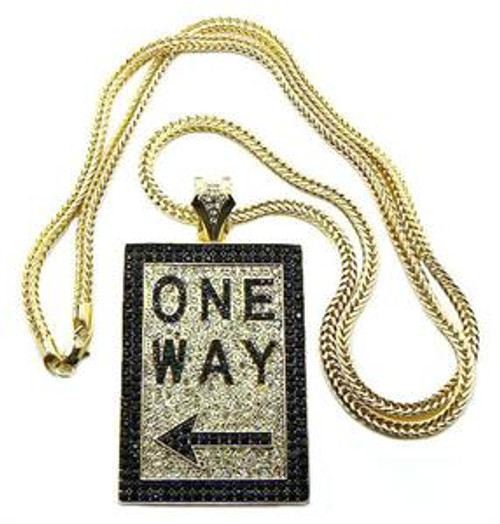 """""""ONE WAY Iced Out Pendant  FREE 36"""" Gold chain"""