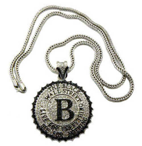 """Black Wall Street Pendant Fully Iced Out , FREE  36"""" Franco  Chain"""