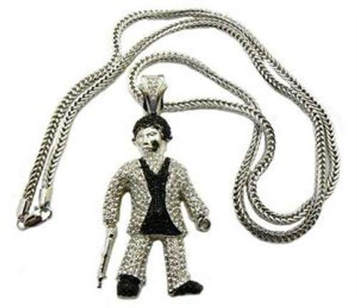 """Scarface silver gun Al Pacino pendantw/ FREE 36"" chain"