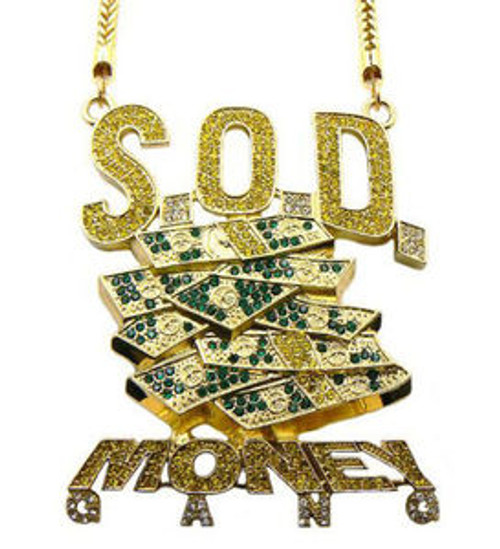 SOULJA BOY'S S.O.D MONEY GANG PENDANT & FRANCO CHAIN