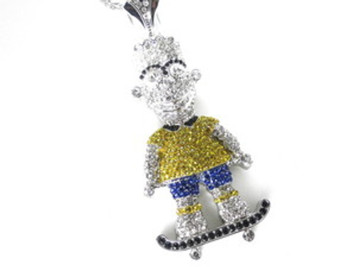"""""""USA Bart Simpson NEW YELLOW AND BLUE SILVER Iced Pendant"""