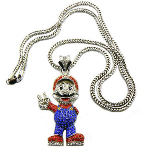 """""""Mario All Iced Out Pendant and chain combo"""