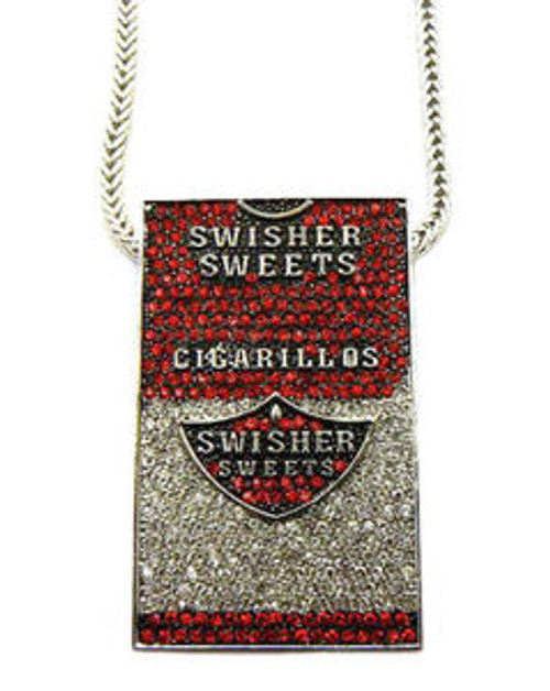 """ICED OUT SWISHER SWEETS PIECE & FRANCO CHAIN-PENDANT SIZE:2""WIDE X 3.5"" LONG."