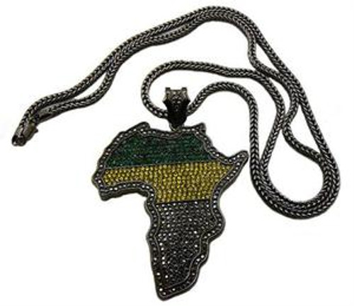Africa Multicolor Fully Iced Out Pendant and chain